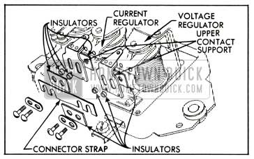 1953 Buick Relationship of Connector Strap, Insulators and Upper Contact Supports