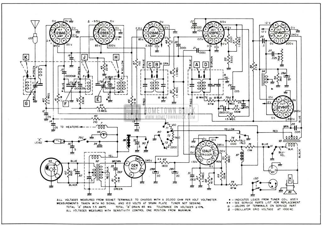 1953 Buick Selectronic Radio Radio Circuit-Series 50-70