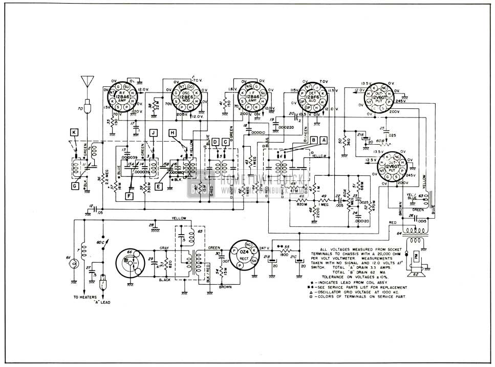 1953 Buick Sonomatic Radio Radio Circuit-Series 50-70
