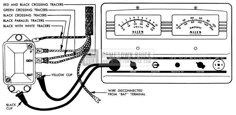 1953 Buick Voltage and Current Regulator Test Connections-Allen Tester