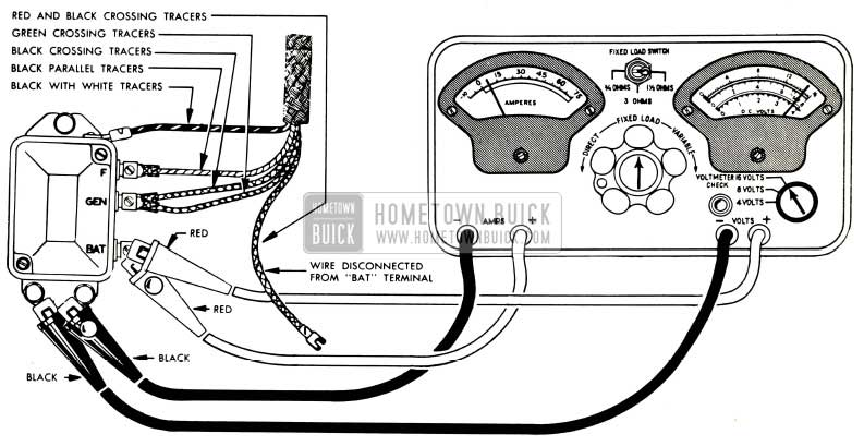 1953 Buick Voltage and Current Regulator Test Connections-Sun Tester