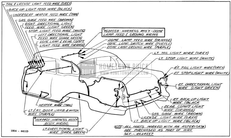 1954 buick wiring diagrams hometown buick 1954 buick body wiring circuit diagram model 48d style 4411d