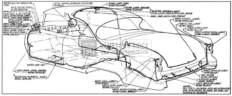1954 Buick Body Wiring Circuit Diagram-Model 56R-Style 4537