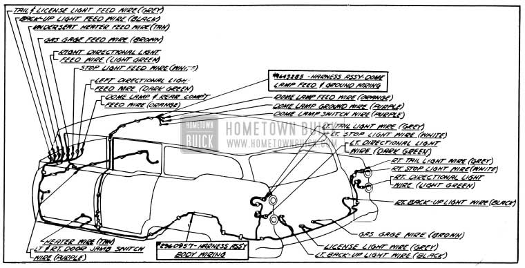 1954 Buick Body Wiring Circuit Diagram-Models 49, 69-Style 4481