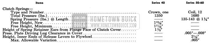 1954 Buick Clutch Specification