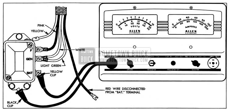 1954 Buick Current Regulator Test Connections-Allen Tester