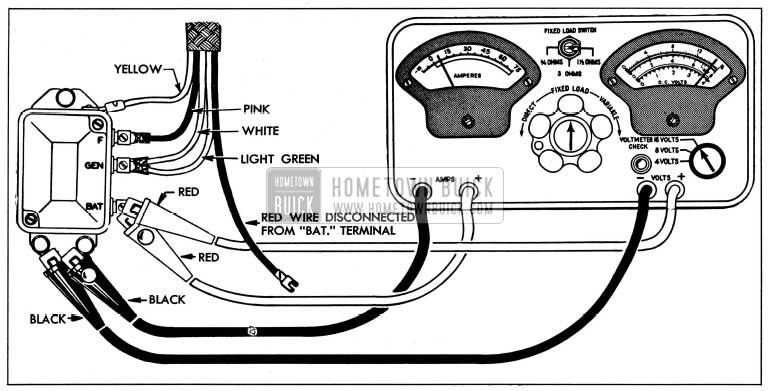 1954 Buick Current Regulator Test Connections-Sun Tester