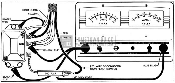 1954 Buick Cutout Relay Test Connections-Allen Tester