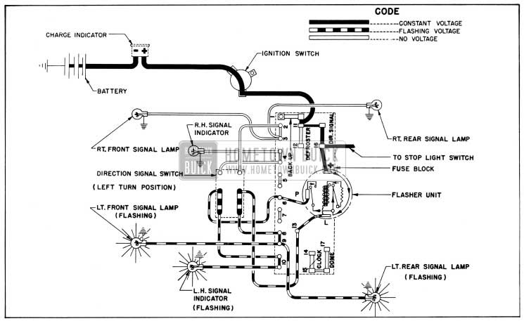 1954 Buick Direction Signal Lamp Circuit Diagram, Left Tum Indicated