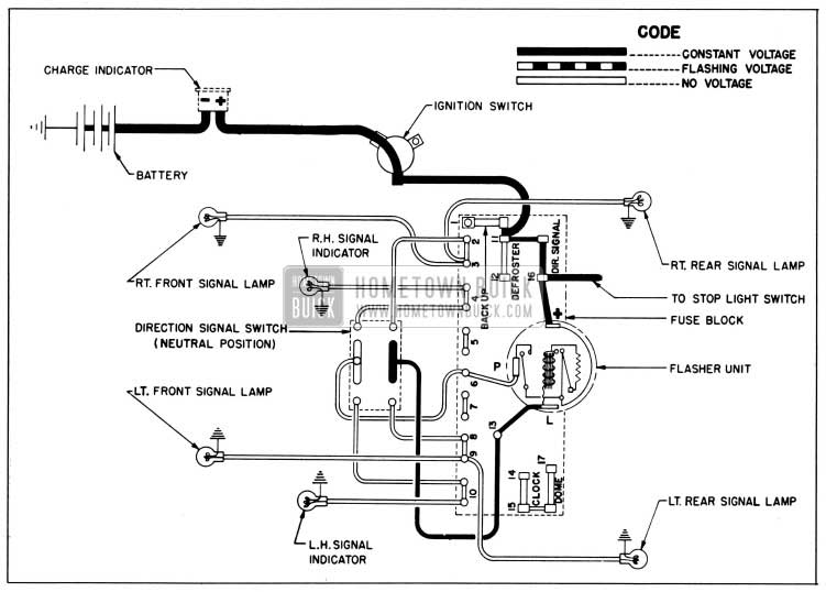 1954 Buick Direction Signal Lamp Circuit Diagram, No Tum Indicated