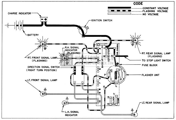 1954 Buick Direction Signal Lamp Circuit Diagram, Right Tum Indicated