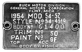 1954 Buick Body Tag