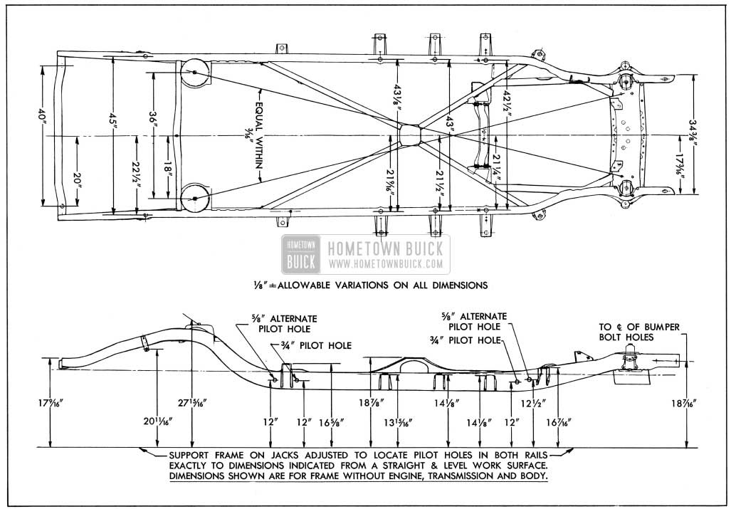 1954 Buick Frame Checking Dimensions-Series 40-60, M100