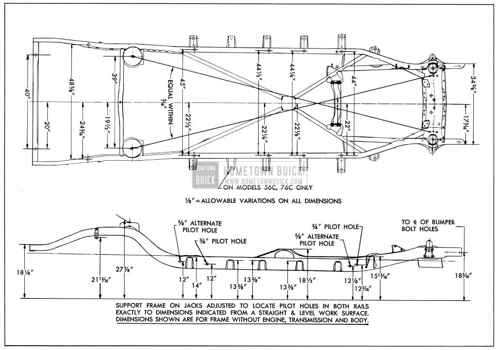 1954 Buick Frame Checking Dimensions-Series 50-70