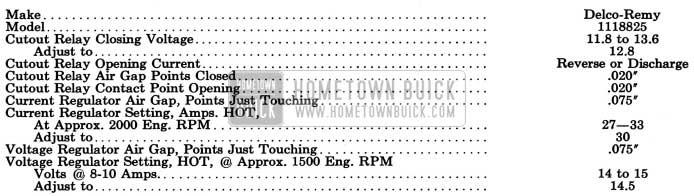 1954 Buick Generator Regulator Specifications