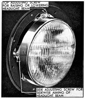 1954 Buick Headlamp Aiming Adjustments