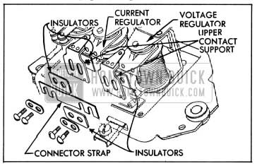 1954 Buick Relationship of Connector Strap, Insulators and Upper Contact Supports