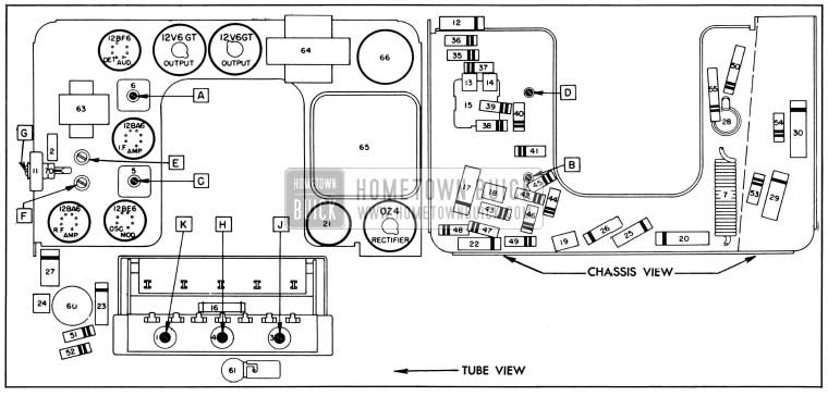 1954 Buick Sonomatic Radio Parts Layout