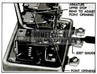 1955 Buick Adjustment of Cutout Relay Contact Point Openings
