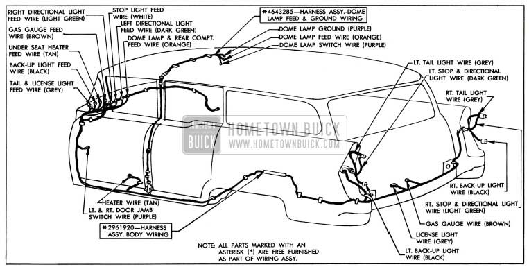 1955 Buick Body Wiring Circuit Diagram-Models 49, 69-Style 4481