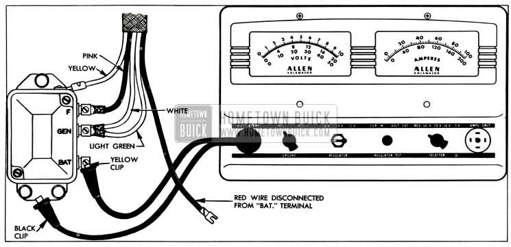 1955 Buick Current Regulator Test Connections-Allen Tester