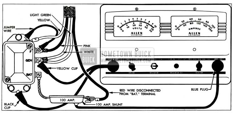 1955 Buick Cutout Relay Test Connections-Allen Tester