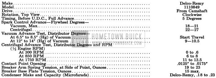 1955 Buick Distributor Specifications