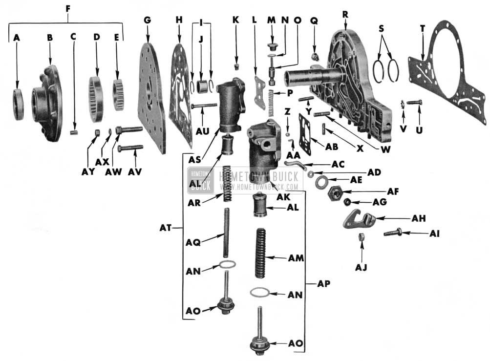 1955 Buick Variable Pitch Dynaflow Transmission Maintenance on Engine Exploded View