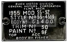 1955 Buick Body Tag