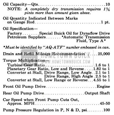 1955 Buick General Dynflow Transmission Specifications