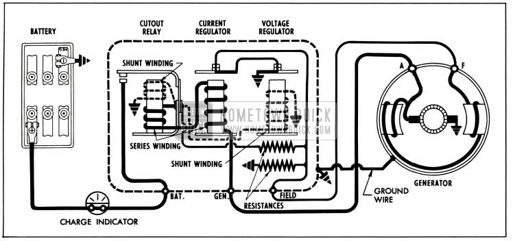 1955 Buick Generator Regulator In Generating Circuit