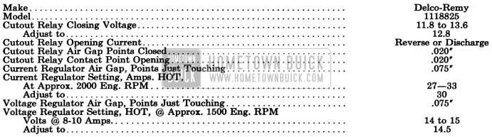 1955 Buick Generator Regulator Specifications