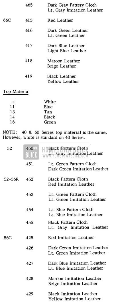 1955 Buick Interior Trim Combinations