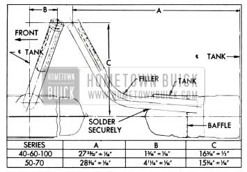 1955 Buick Location Dimensions for Installing Gasoline Tank Filler