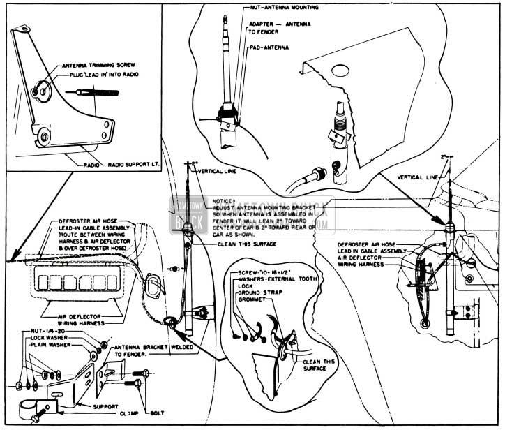 1955 Buick Manual Antenna Installation Details