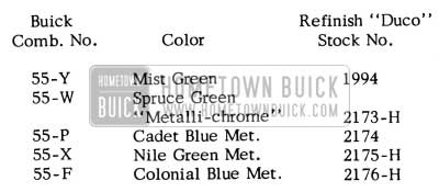 1955 Buick Paint Colors