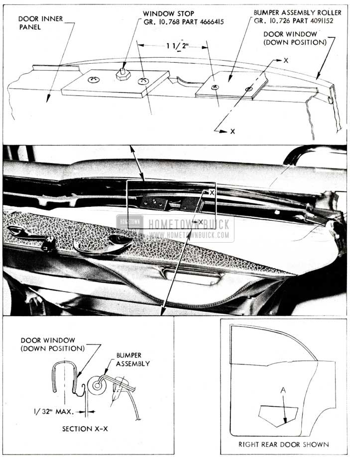 1955 Buick Rear Door Window Assembly