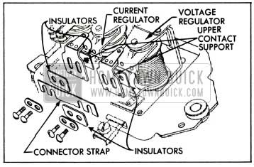 1955 Buick Relationship of Connector Strap, Insulators and Upper Contact Supports