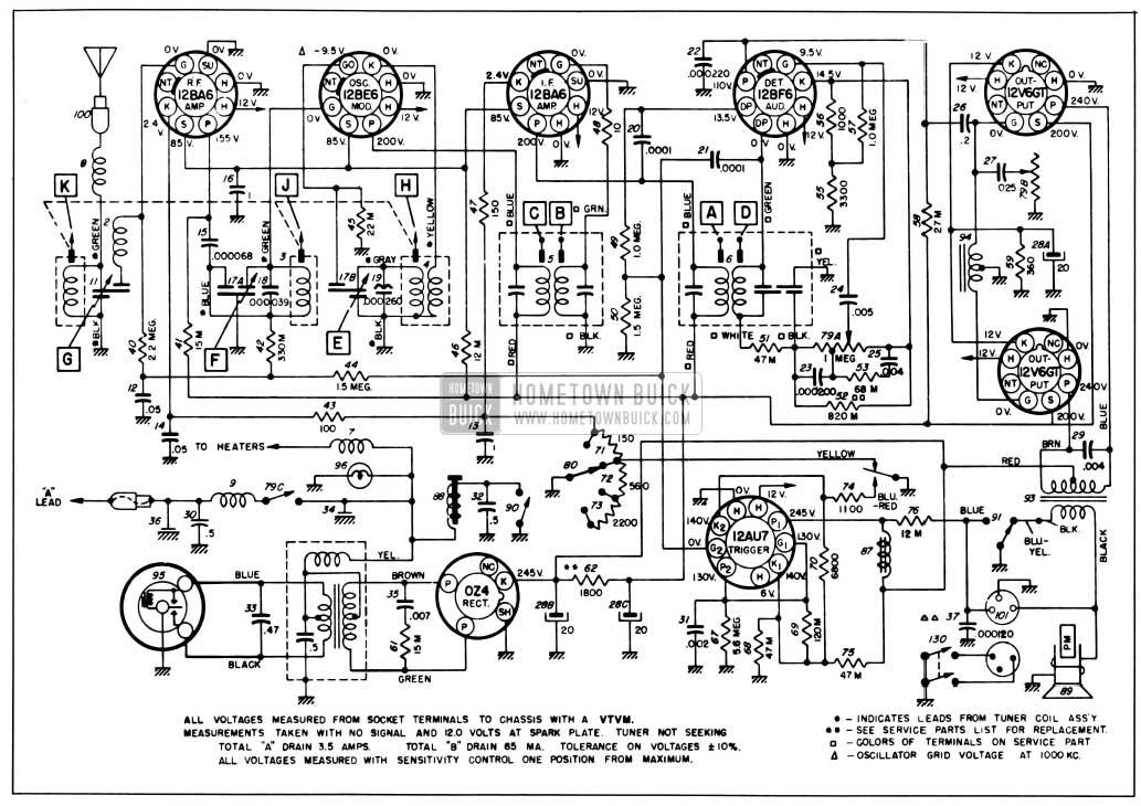 1955 Buick Selectronic Radio Circuit Schematic