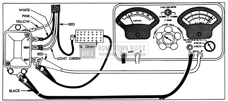 1955 Buick Voltage Regulator Test Connections-Sun Tester