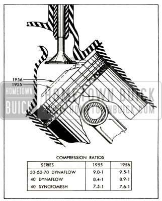 1956 Buick Comparison of 1955 and 1956 Compression Ratios