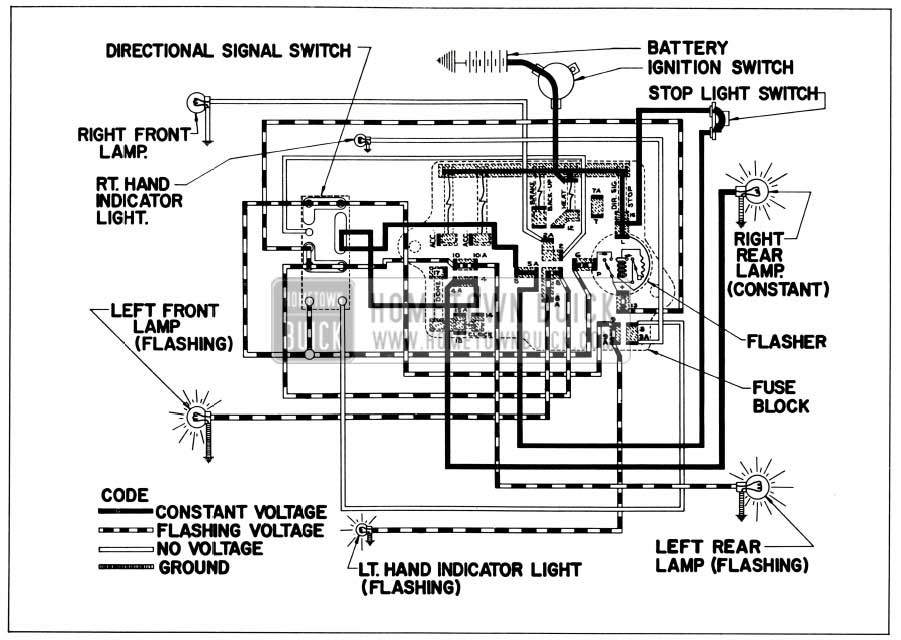 1956 Buick Directional Signal Lamp Circuit-Left Tum Indicated (Right Stop Light On)
