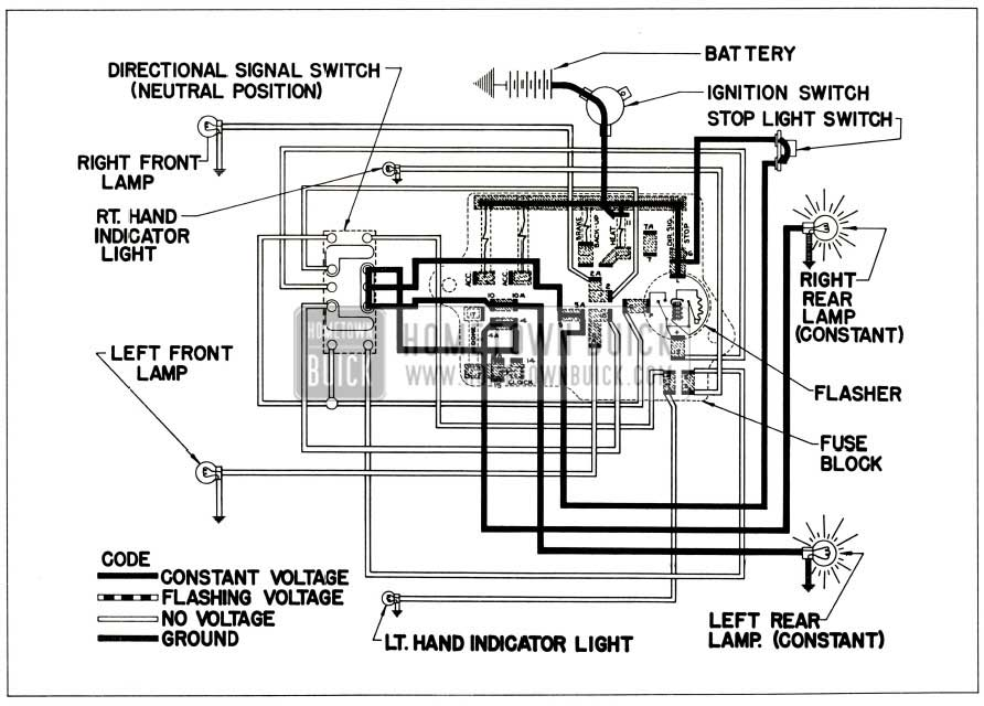 1956 Buick Directional Signal Lamp Circuit-No Turn Indicated (Stop Light On)