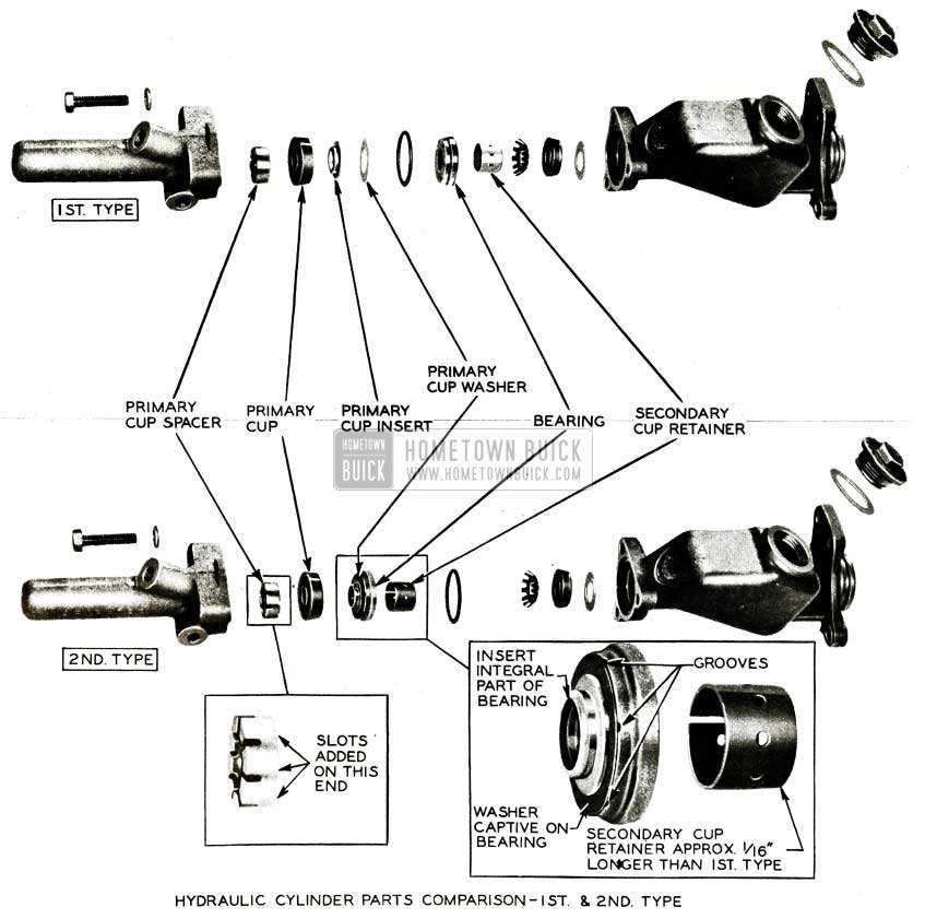 1956 Buick Hydraulic Brake  Cylinder Parts Comparison