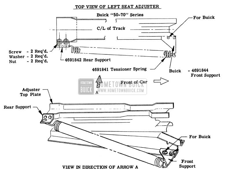 1956 Buick Left Front Seat Adjuster - Series 50-70