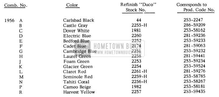 1956 Buick Paint Colors