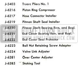 1956 Buick Power Steering Gear Tools Legend
