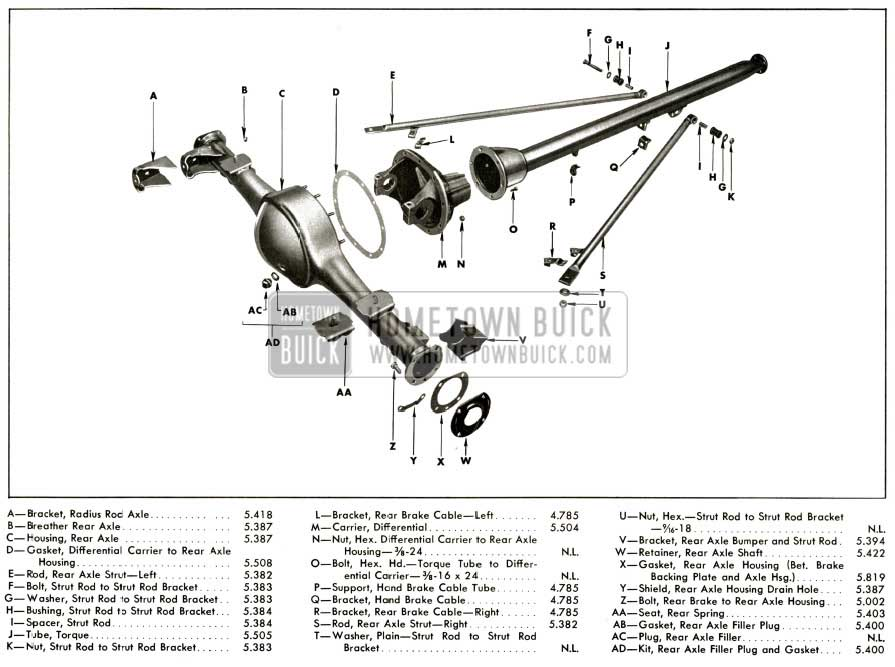 1956 buick rear axle assembly