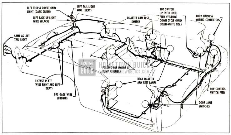 1957 Buick Body Wiring Circuit Diagram-Series 40-60 Convertibles
