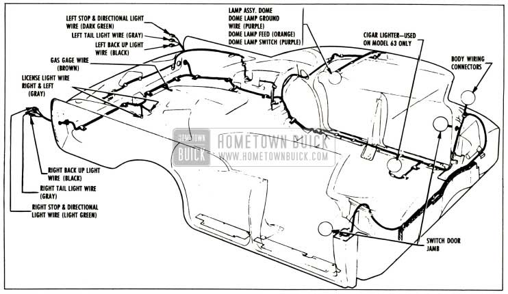 1957 Buick Body Wiring Circuit Diagram-Series 40-60 Four-Door Closed Bodies